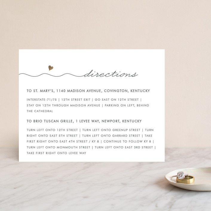 """""""Love Connection"""" - Whimsical & Funny Foil-pressed Direction Cards in Gold by Kim Dietrich Elam."""