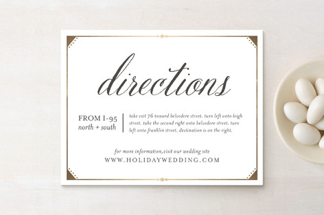 Fanciful Names Foil-Pressed Direction Cards