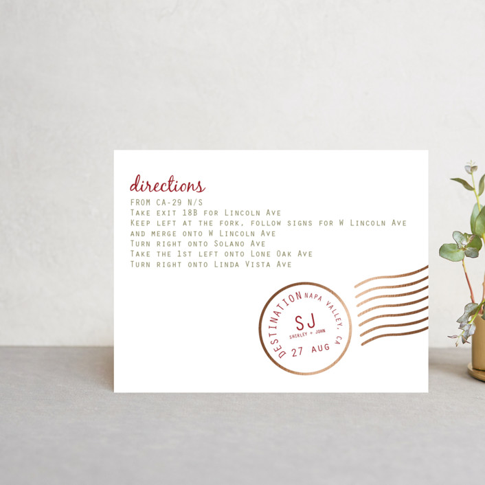 """""""A Faraway Destination"""" - Foil-pressed Direction Cards in Deep Red by bumble ink."""
