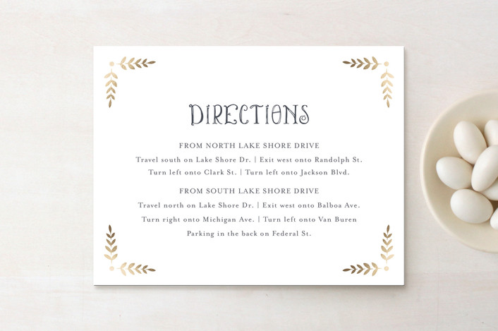 """""""Glittered Monogram"""" - Rustic Foil-pressed Direction Cards in Gold by Erin Deegan."""