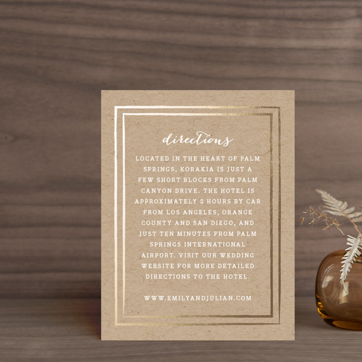"""""""Gold Rush"""" - Whimsical & Funny, Preppy Foil-pressed Direction Cards in Kraft by Annie Clark."""