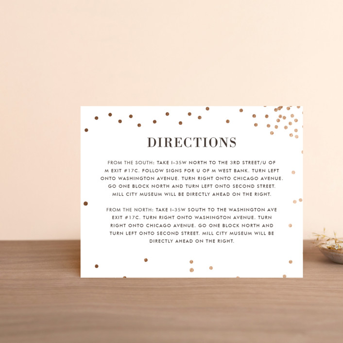 """Thrilling"" - Preppy Foil-pressed Direction Cards in Gold by Design Lotus."