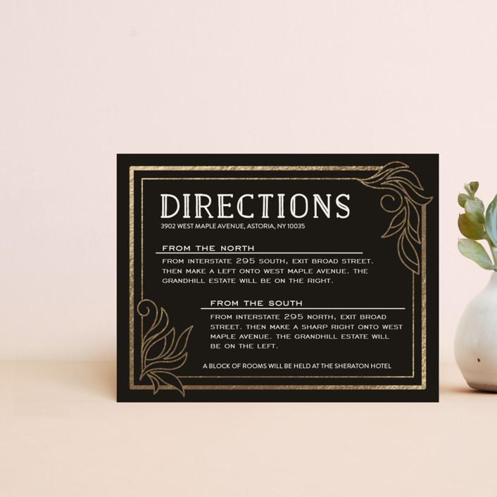 """""""Antique Lines"""" - Vintage Foil-pressed Direction Cards in Noir by GeekInk Design."""