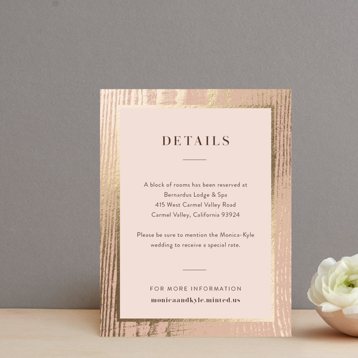 """""""barn door"""" - Rustic Foil-pressed Direction Cards in Blush by Robin Ott."""