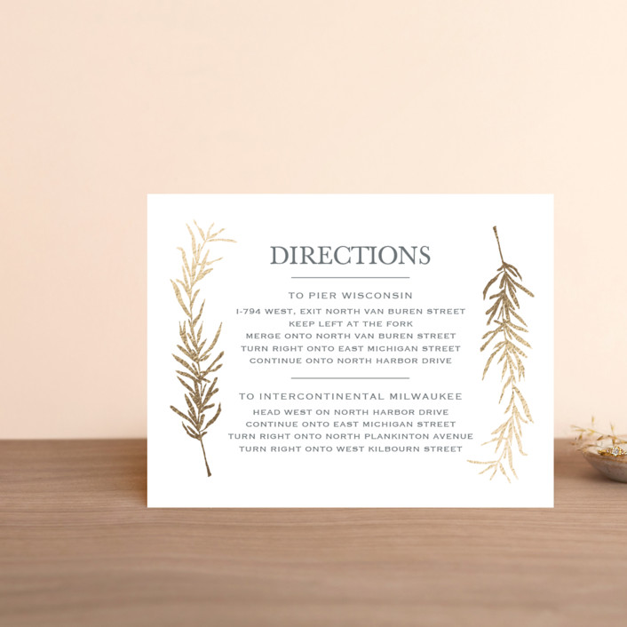 """""""Simple Sprigs"""" - Rustic Foil-pressed Direction Cards in Gold by Erin Deegan."""
