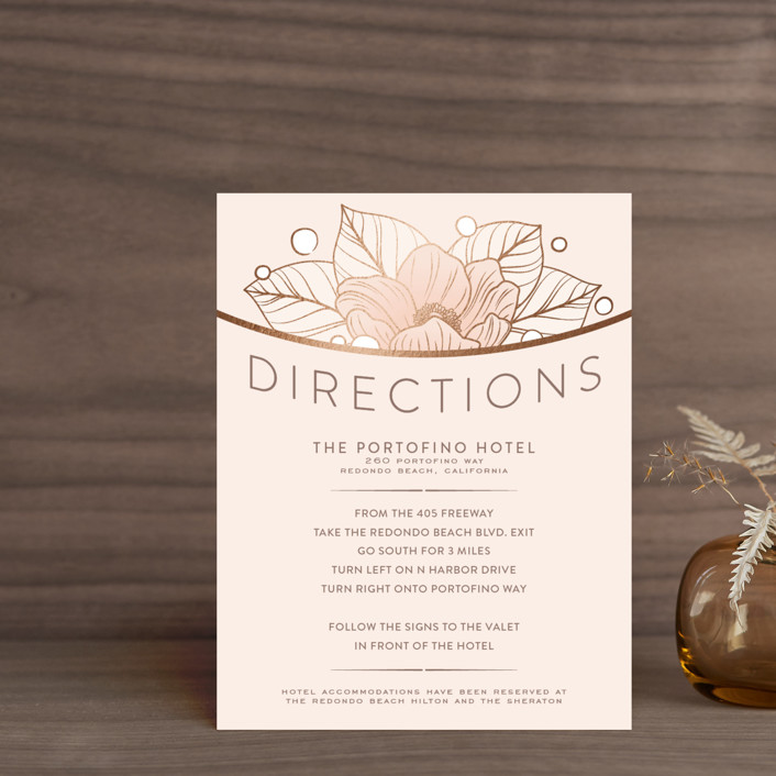 """Resplendent"" - Foil-pressed Direction Cards in Blush by GeekInk Design."