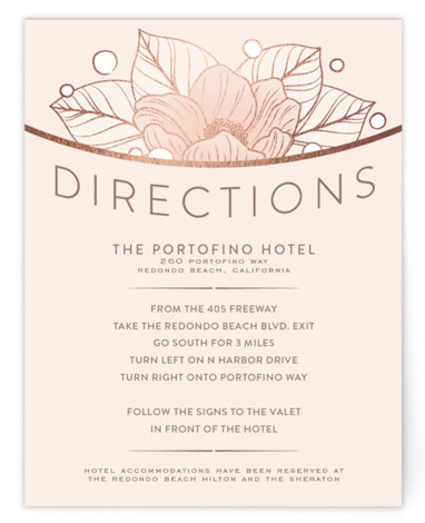 This is a pink Direction Cards by GeekInk Design called Resplendent with Foil Pressed printing on Signature in Card Flat Card format. Beautiful vintage style flowers and leaves frame your information in this wedding invite.