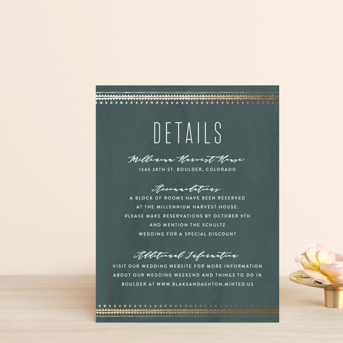 """""""boho glam"""" - Foil-pressed Direction Cards in Ink by Carolyn Nicks."""