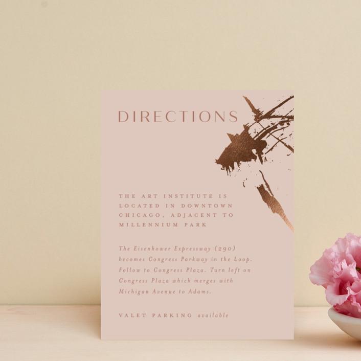 """Heartstrings"" - Modern Foil-pressed Direction Cards in Slate by Erin German Design."