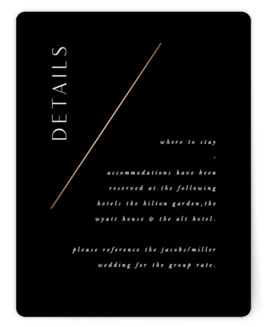 This is a portrait simple and minimalist, black Direction Cards by Amy Kross called The Bias with Foil Pressed printing on Signature in Card Flat Card format. This modern, minimal wedding invitation design features a clean and simple design.