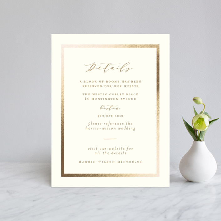 """""""The Crown"""" - Foil-pressed Direction Cards in Champagne by Susan Brown."""