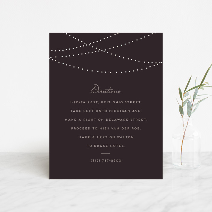 """""""Lavish"""" - Rustic Foil-pressed Direction Cards in Chalkboard by Design Lotus."""