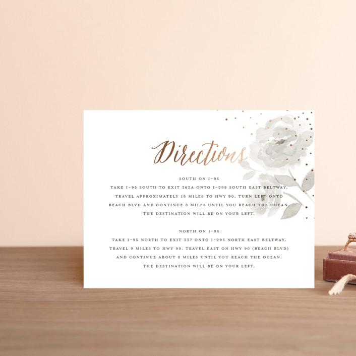 """Watercolor Floral"" - Foil-pressed Direction Cards in Fog by Jill Means."