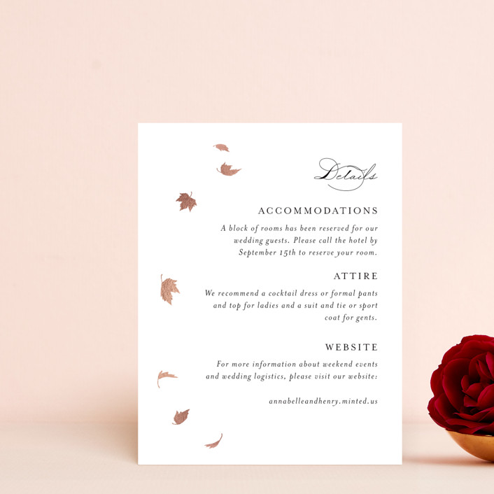"""""""Pirouette"""" - Rustic Foil-pressed Direction Cards in Noir by Kimberly FitzSimons."""