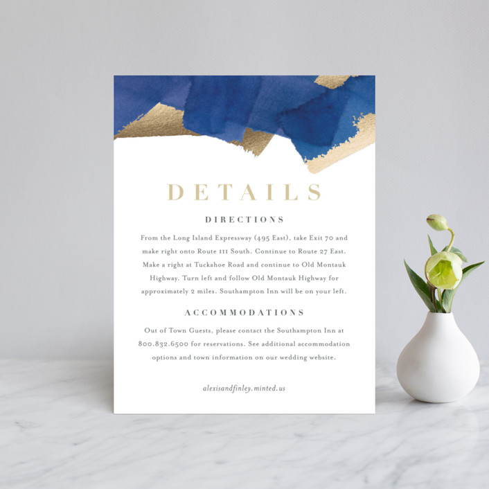 """Modern Abstract"" - Modern Foil-pressed Direction Cards in Navy by Four Wet Feet Studio."