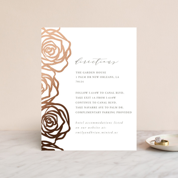 """""""Rose Box"""" - Foil-pressed Direction Cards in Warm Gray by Melinda Denison."""