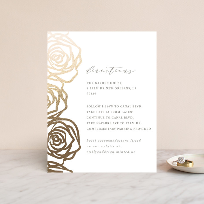 """Rose Box"" - Foil-pressed Direction Cards in Warm Gray by Melinda Denison."