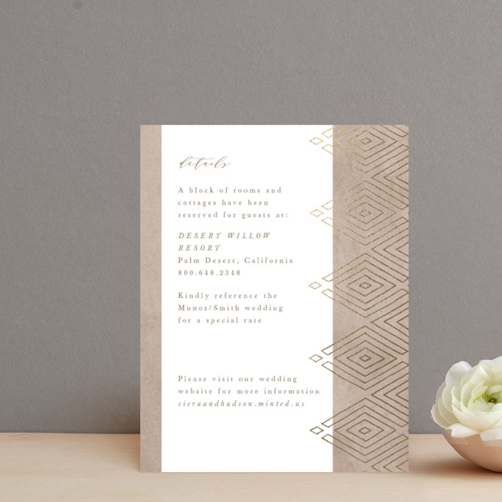 """""""Geometrica"""" - Bohemian Foil-pressed Direction Cards in Sand by Owl and Toad."""