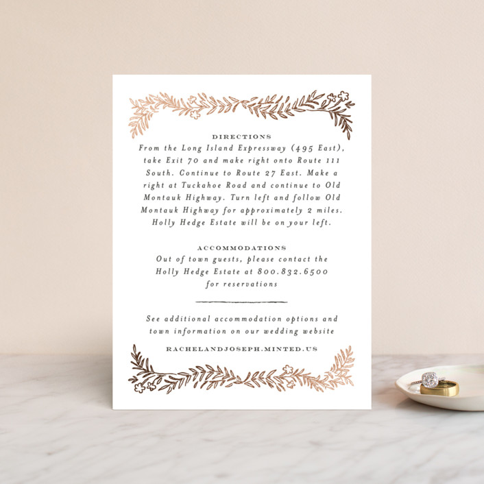 """""""Lacy Meadow Ovals"""" - Foil-pressed Direction Cards in Gold Leaf by Shiny Penny Studio."""