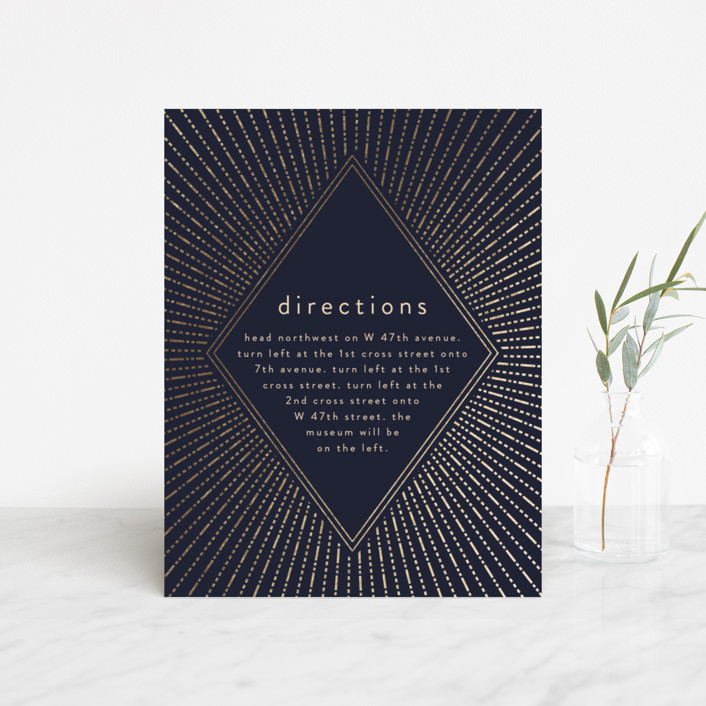 """""""Apache"""" - Foil-pressed Direction Cards in Navy by Annie Montgomery."""