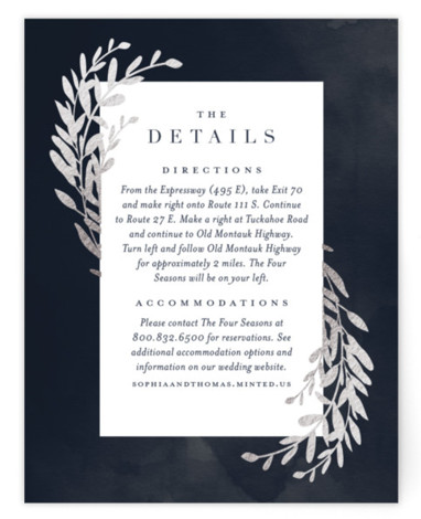 This is a botanical, blue, silver Direction Cards by Stacey Meacham called Lux branch with Foil Pressed printing on Signature in Card Flat Card format. An elegant wedding invitation featuring a deep moody watercolor background with hand drawn branches.