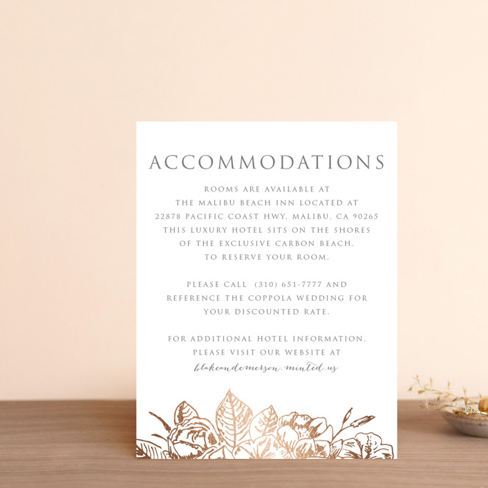 """""""Gilded Wildflowers"""" - Foil-pressed Direction Cards in Golden by Smudge Design."""
