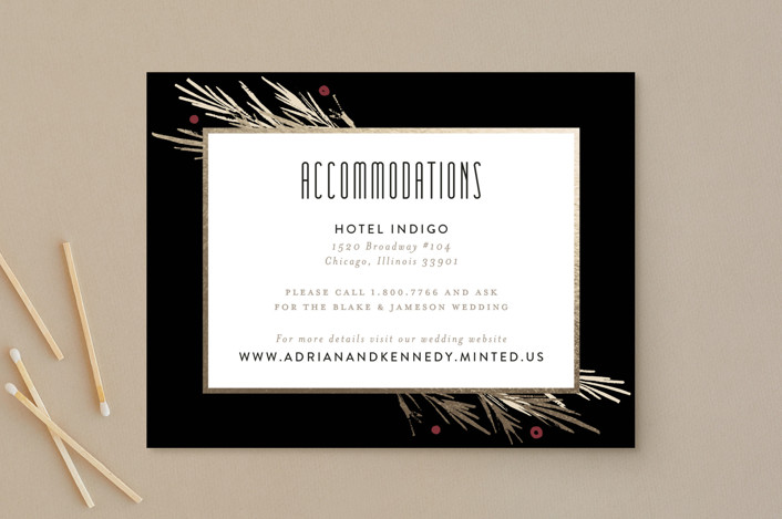 """""""Winter Berry"""" - Rustic Foil-pressed Direction Cards in Tuxedo by Kelly Nasuta."""