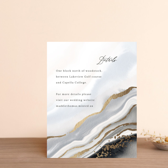 """""""Luxe"""" - Foil-pressed Direction Cards in Onyx by Elly."""