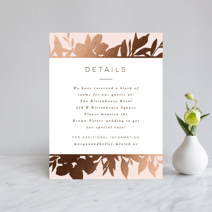 """""""Lavish Bouquet"""" - Foil-pressed Direction Cards in Blush by Everett Paper Goods."""