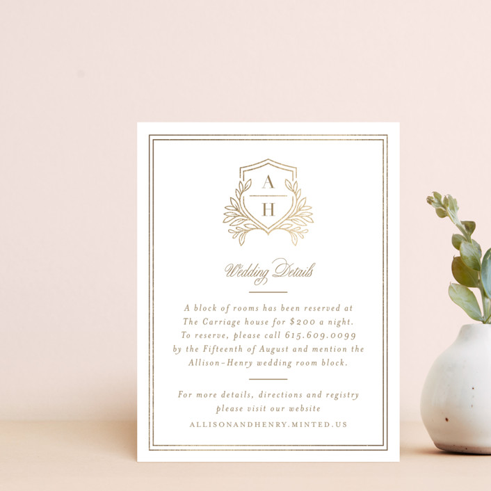 """Chic Monogram"" - Foil-pressed Direction Cards in Porcelain by Mansi Verma."