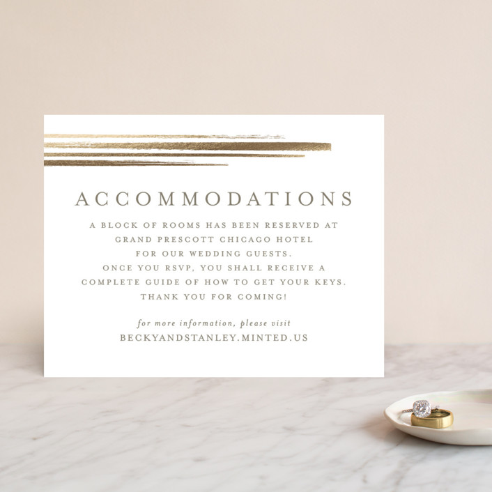 """""""Bianco"""" - Modern Foil-pressed Direction Cards in Gold by chocomocacino."""