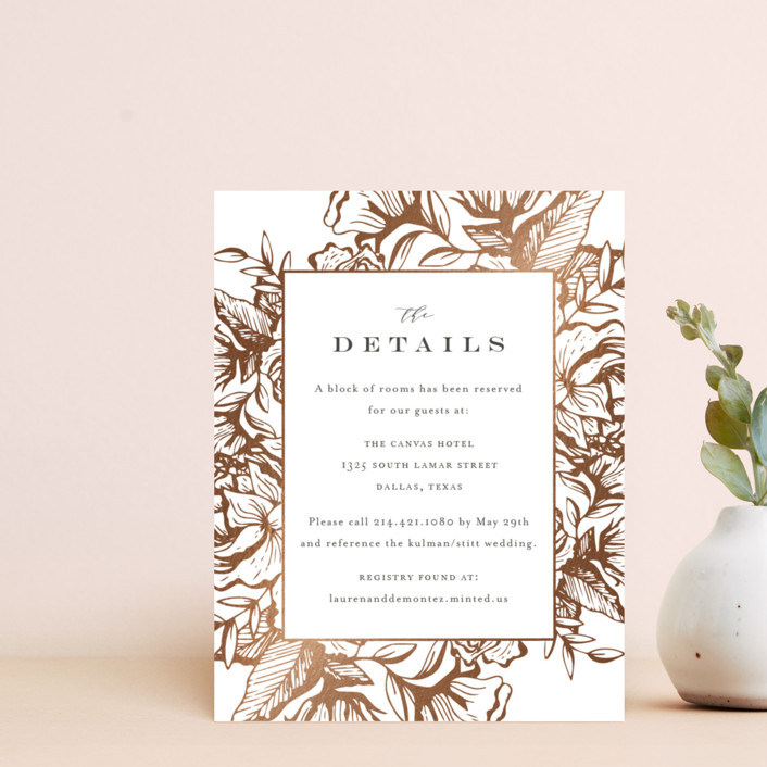 """Beautiful Bouquet"" - Rustic Foil-pressed Direction Cards in Slate by Jennifer Postorino."