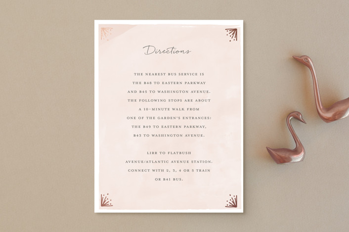 """""""Le Feuillage"""" - Rustic Foil-pressed Direction Cards in Blush by Bonjour Paper."""