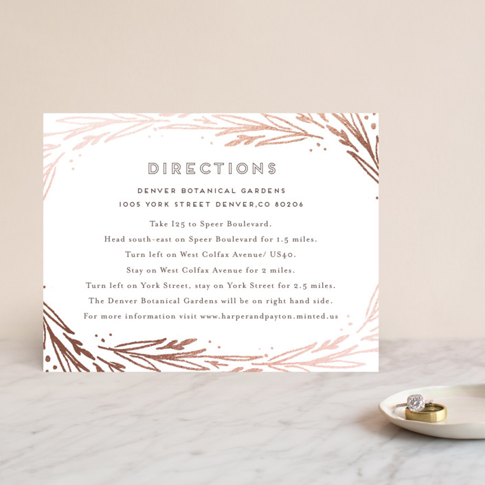 """""""Modern Branches"""" - Rustic Foil-pressed Direction Cards in Rose Gold by Grace Kreinbrink."""