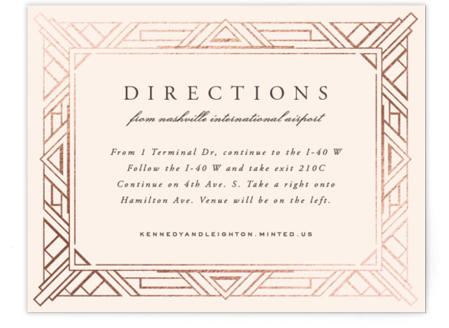 This is a landscape abstract geometric, classical, elegant, formal, metallic, vintage, beige Direction Cards by Hooray Creative called Opulent Border with Foil Pressed printing on Signature in Card Flat Card format. A custom, art deco inspired border with elegant type ...