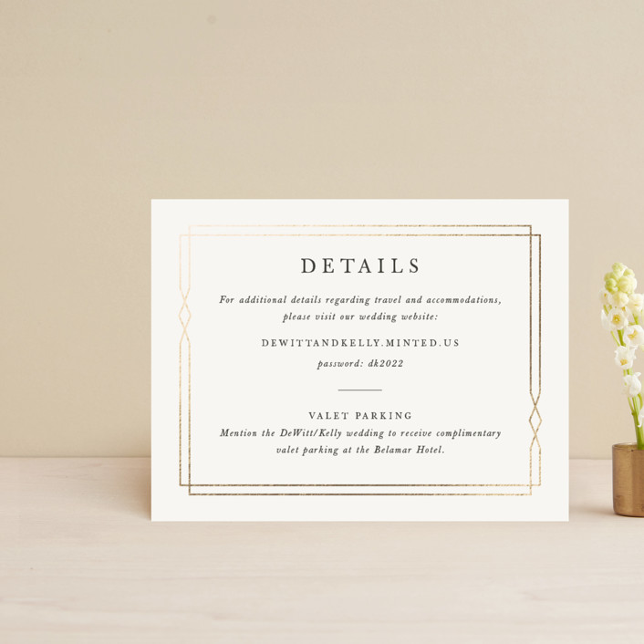 """""""Traditional Twist"""" - Foil-pressed Direction Cards in Cream by Sarah Brown."""