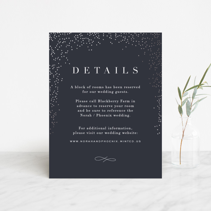 """Amazed"" - Modern Foil-pressed Direction Cards in Obsidian by Design Lotus."
