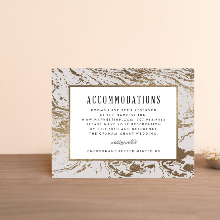 """""""Modern Marble"""" - Rustic Foil-pressed Direction Cards in Cloud by Kelly Schmidt."""