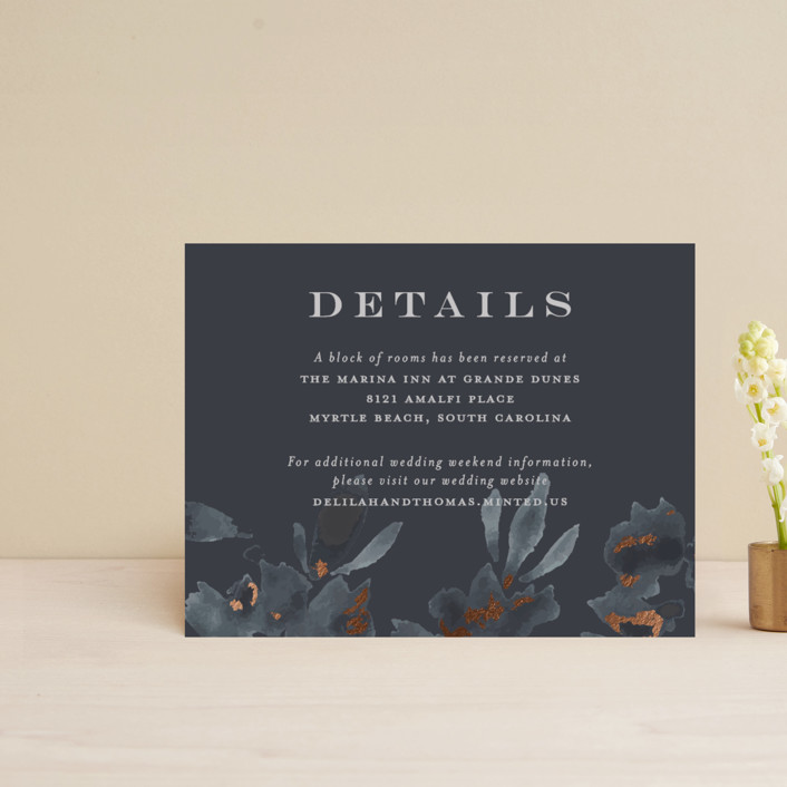 """""""Carolina"""" - Rustic Foil-pressed Direction Cards in Dusty Blue by Little Words Design."""