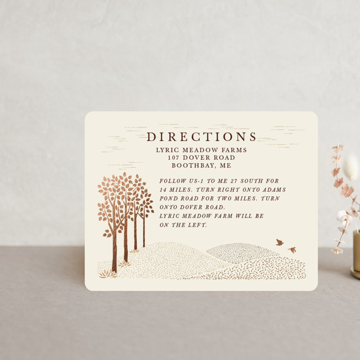 """""""In the country"""" - Rustic Foil-pressed Direction Cards in Chestnut by Paper Sun Studio."""