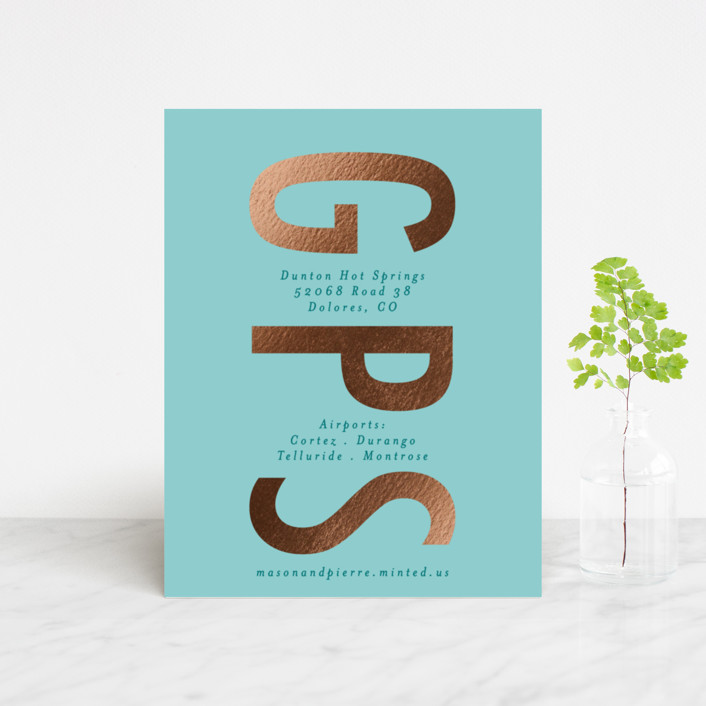 """Oui"" - Foil-pressed Direction Cards in Turquoise by Gwen Bedat."