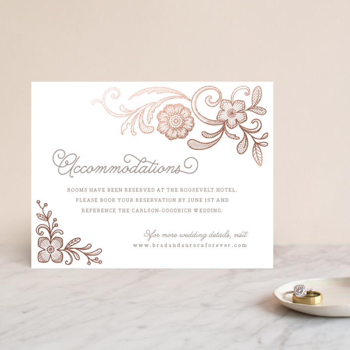 """Floral Embroidery"" - Classical, Monogrammed Foil-pressed Direction Cards in Rose Gold by Hooray Creative."