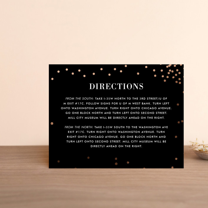 """""""Thrilling"""" - Preppy Foil-pressed Direction Cards in Gold by Design Lotus."""