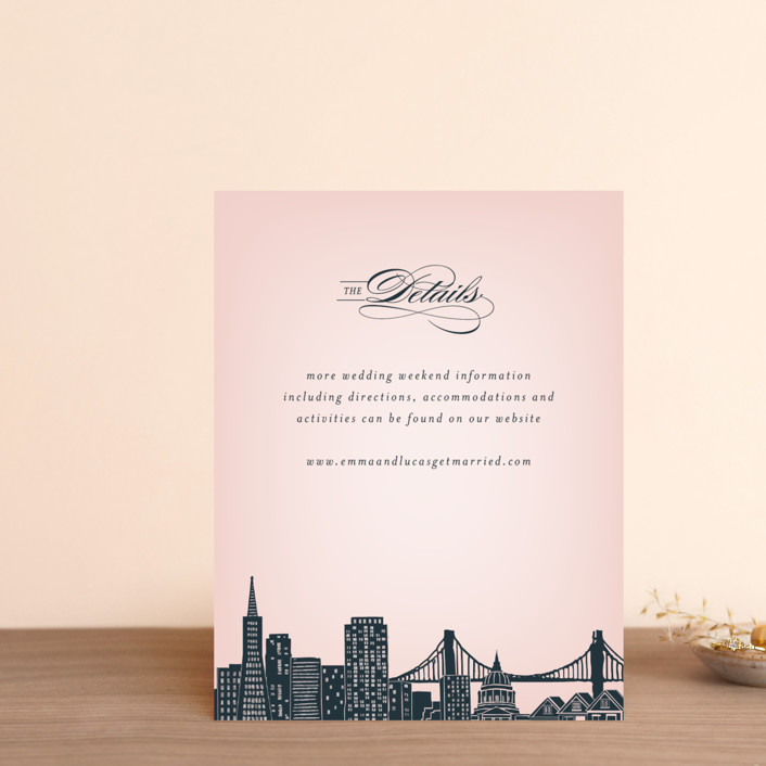 """Big City - San Francisco"" - Foil-pressed Direction Cards in Blush by Hooray Creative."