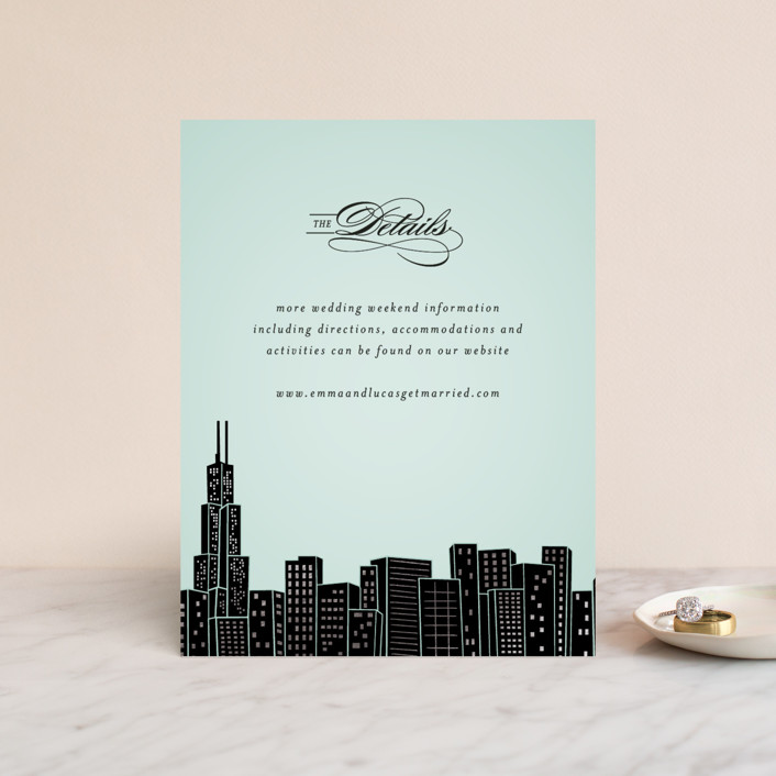 """""""Big City - Chicago"""" - Foil-pressed Direction Cards in Mint by Hooray Creative."""