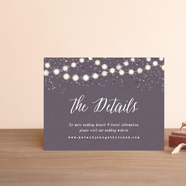 """Garden Lights"" - Rustic Foil-pressed Direction Cards in Plum by Hooray Creative."