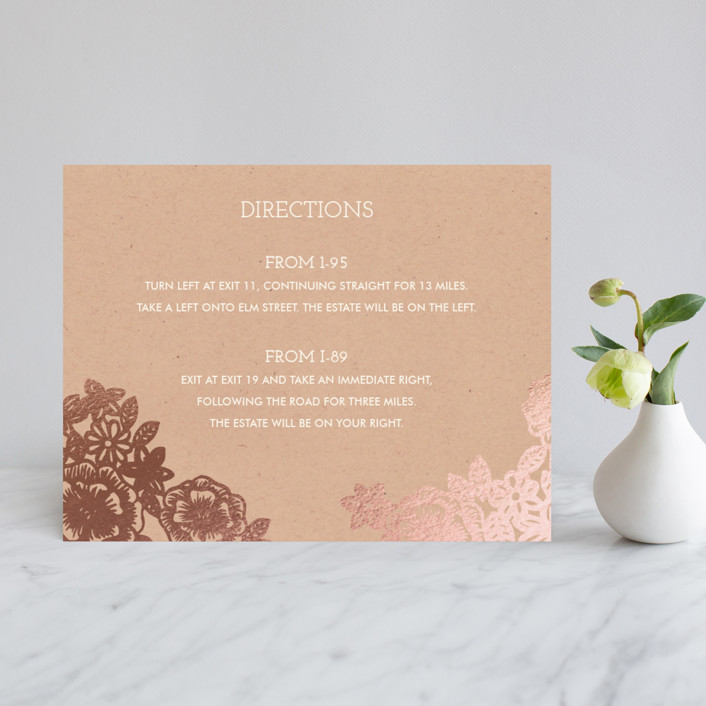 """""""Lace and Kraft"""" - Vintage, Floral & Botanical Foil-pressed Direction Cards in Kraft by Katharine Watson."""