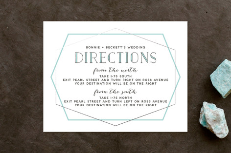 Electric Foil-Pressed Direction Cards