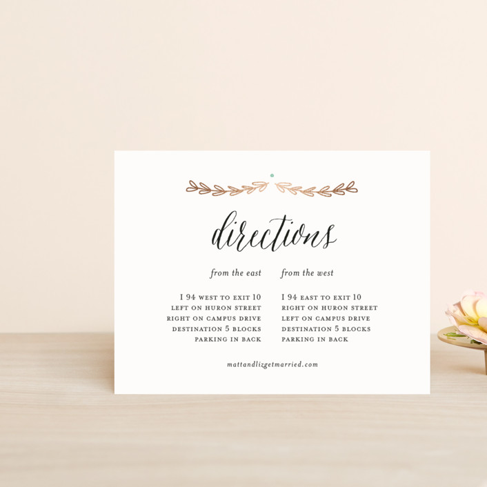 """""""Always"""" - Floral & Botanical, Rustic Foil-pressed Direction Cards in Rose Gold by Susan Brown."""