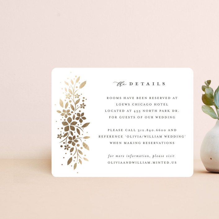 """""""trellis"""" - Foil-pressed Direction Cards in Flaxen by Melanie Kosuge."""